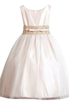Ankle Length A-Line Sleeveless Scoop Pleated Flower Girl Dress