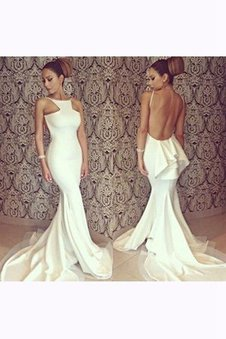 Ruffles Sleeveless Long Backless Chiffon Prom Dress