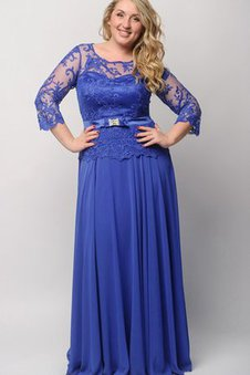 Bateau Floor Length Lace Chiffon Empire Waist Prom Dress