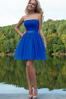 Sleeveless Strapless A-Line Zipper Up Tulle Prom Dress