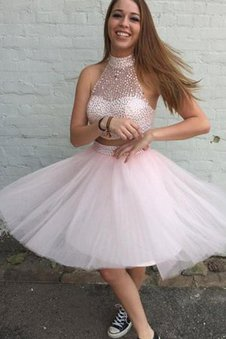 2 Piece Sleeveless Short High Neck Tulle Homecoming Dress