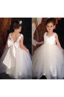 Appliques Sleeveless Tulle Accented Bow Flowers Flower Girl Dress