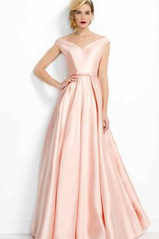 Pleated Romantic Off The Shoulder Floor Length Short Sleeves Prom Dress