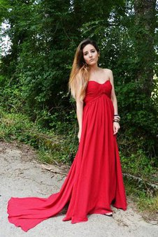 Ruched Chiffon Zipper Up Sweetheart A-Line Prom Dress