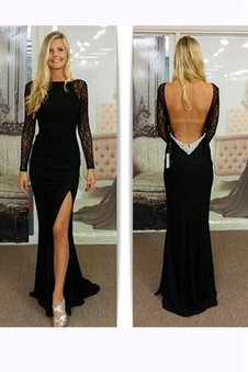 Deep V-Neck Long Sleeves Natural Waist Lace Chiffon Prom Dress