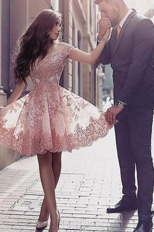 Appliques Tulle Natural Waist A-Line Homecoming Dress