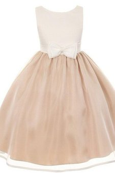 Bow Sleeveless Ruched Simple A-Line Flower Girl Dress
