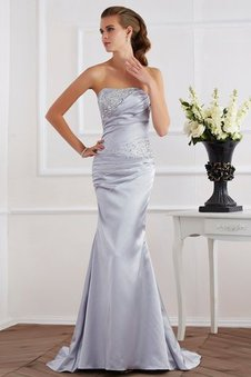 Long Lace-up Strapless Sleeveless Elastic Woven Satin Evening Dress