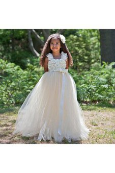Spaghetti Straps Lace Bow Sashes Pleated Flower Girl Dress