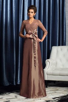 Long A-Line V-Neck Natural Waist 3/4 Length Sleeves Mother Of The Bride Dress