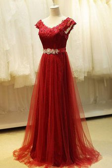 Pleated Simple Beading Capped Sleeves V-Neck Prom Dress