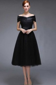 Simple Knee Length Lace-up V-Neck A-Line Prom Dress