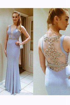 Keyhole Back Mermaid Natural Waist Lace Fabric Chiffon Prom Dress