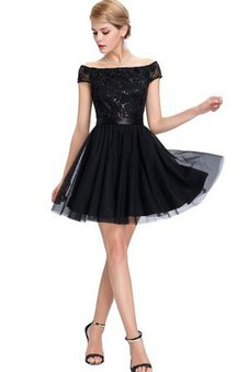 Sequined Short Tulle Sequins Capped Sleeves Prom Dress