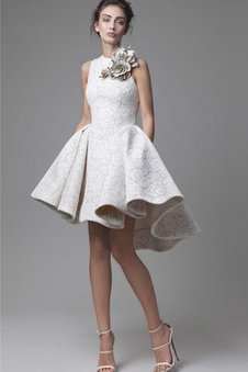 Flowers Sleeveless High Low Appliques Bow Evening Dress