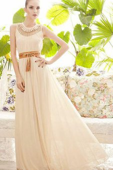 Keyhole Back Pleated Sleeveless Chiffon Prom Dress