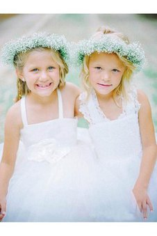 Criss-Cross Princess Strapless Tulle Lace Flower Girl Dress