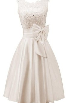 Tea Length Bow Beading Sleeveless Romantic Dressed In 16 Years