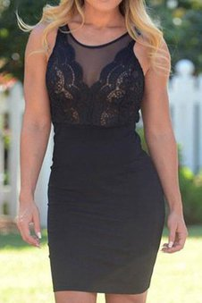 Short Sexy Sleeveless Lace Natural Waist Party Dress