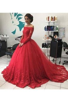 Natural Waist Long Sleeves Sweep Train Tulle Ball Gown Evening Dress