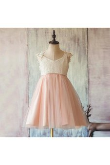 Appliques A-Line Capped Sleeves Lace Tulle Flower Girl Dress