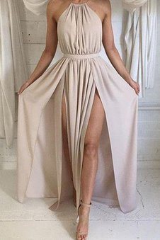 Floor Length Ruched Sexy Elegant & Luxurious Chiffon Prom Dress