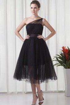 One Shoulder Tea Length Tulle A-Line Ruched Dressed In 16 Years