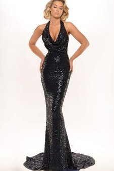 Beading Floor Length Sweep Train Backless Sequins Evening Dress