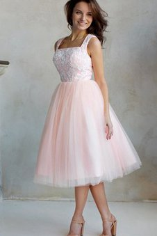 Zipper Up A-Line Tulle Pleated Capped Sleeves Prom Dress