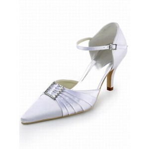 High-heeled Satin Bridal Shoe With Fine