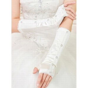 Satin With Crystal Chic Bridal Gloves