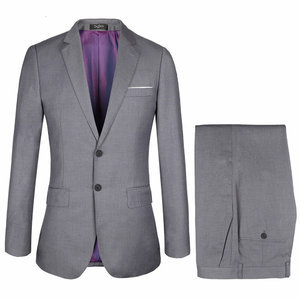 Solid Plus Size 58 With Pants Gray Men Formal Business Suit