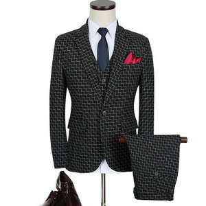 New Blue Designer Men 3 Pieces Relaxed Checked Suits