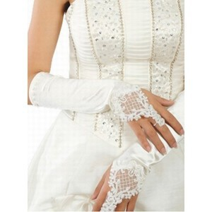 Taffeta Beaded Embroidery Elegant White Bridal Gloves