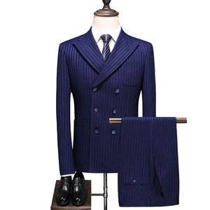 Slim Fit Wedding Striped Double Breasted Blue Korean 3 Pieces Suit Men