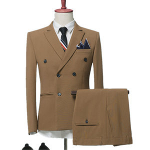 Color Sets / Men New Fashion Casual Men Double Breasted Suits Plain Suit