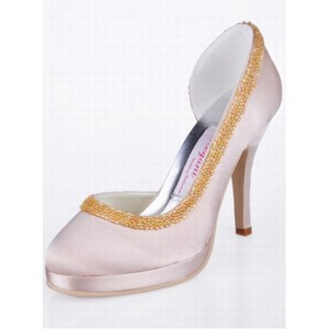 High-heeled Satin Bridal Shoe Round Root