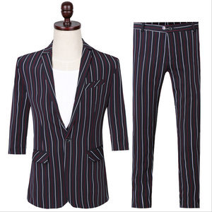 2 Pieces Terno Striped Short-sleeved Skinny Men Suits
