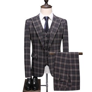Laid Back Business Pants Blazers Vest Together Plaid Men Suits