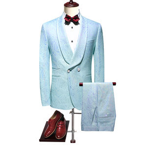 Blazer Business Casual Printed New Arrivals Light Blue 5xl Suit