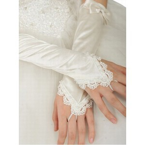 Taffeta With Bowknot White Elegant Bridal Gloves
