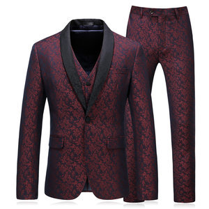 Slim Fit Men Tuxedo Sets Fashion 3 Pieces Printed Suits