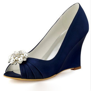 Classic Actual Heel Height 3.15 Inch Wedges Autumn Wedding Shoe