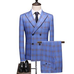 Asian Size Plaid Plus Size Double Breasted Luxury Men's Suits
