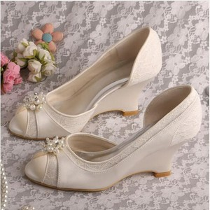 Formal Spring Wedges Actual Heel Height 3.15 Inch Wedding Shoe