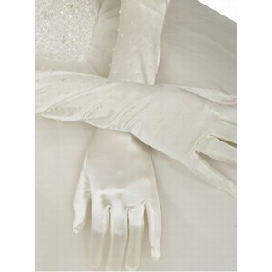 Taffeta Beading White Vintage Bridal Gloves