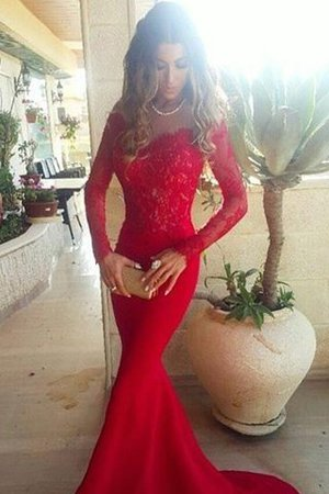 Long Sleeves Off The Shoulder Natural Waist Lace Sweep Train Prom Dress