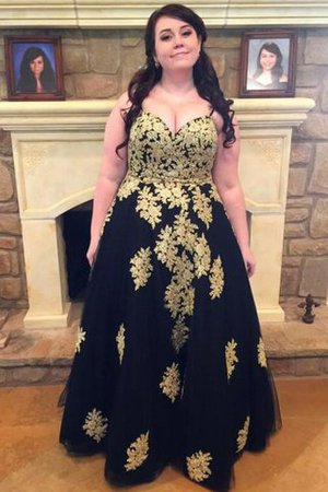 Tulle Plus Size Natural Waist Sleeveless Floor Length Prom Dress