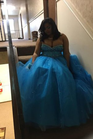 Sweetheart Plus Size Tulle Sleeveless Beading Prom Dress