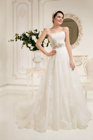 Simple Appliques Strapless Crystal Tea Length Wedding Dress